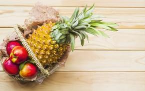 Картинка яблоки, ананас, корзинка, wood