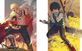 Картинка аниме, арт, Меч, парни, двое, Boku no Hero Academia, Мидория Изуку, Моя Геройская Академия, Бакуго …