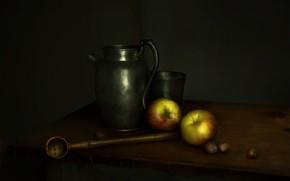 Картинка яблоки, посуда, кувшин, орехи, половник