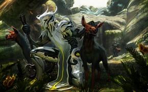 Картинка собаки, горы, игра, арт, инопланетянин, существа, гиены, Warframe