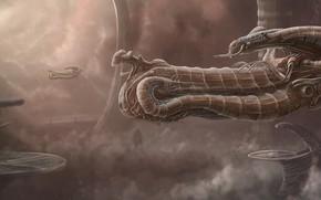 Картинка Облака, Корабль, Fantasy, Art, Космический Корабль, Alien, Фантастика, Spaceship, Vehicles, Science Fiction, Spacecraft, Dmitrii Ustinov, …