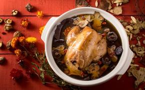 Картинка грибы, еда, курица