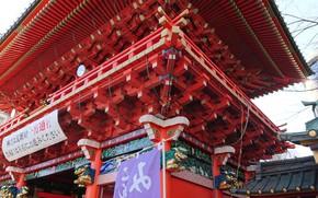 Картинка храм, Tokyo, Japan, вид снизу