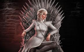 Картинка Girl, Fantasy, Трон, Game of Thrones, Игра престолов, Daenerys Targaryen, Дейенерис Таргариен, Персонаж, Железный трон, …
