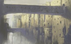 Картинка фэнтези, мосты, каменный город