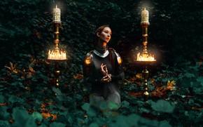 Картинка девушка, ночь, стиль, доспехи, свечи, сад, фэнтези, образ, фотоарт, Kindra Nikole