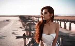 Картинка солнце, пейзаж, модель, портрет, макияж, платье, прическа, шатенка, красотка, в белом, позирует, боке, Ivan Sheremet