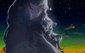Картинка небо, девушка, звезды