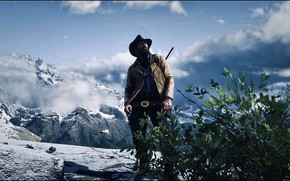 Картинка HDR, Clouds, Sky, Snow, Game, Bush, UHD, Red Dead Redemption 2, Xbox One X, Arthur …