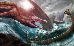 Картинка дракон, корабль, монстр, Andrii Shafetov, Dragon attack