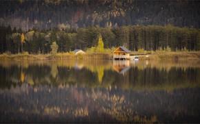 Картинка осень, лес, вода, горы, природа, уют, озеро, отражение, берег, тишина, Австрия, домик, водоем, водная гладь, …