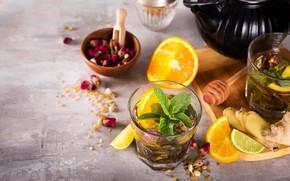 Картинка лимон, чай, апельсин, мед, бутоны, мята, имбирь