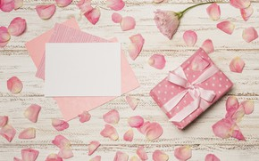 Картинка подарок, лепестки, конверт, День Матери