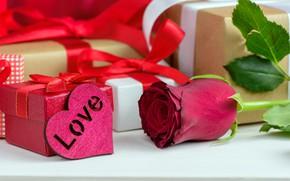 Картинка любовь, подарок, сердце, розы, красные, red, love, flowers, romantic, hearts, valentine's day, roses, gift box