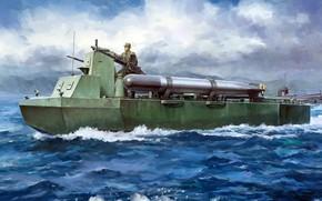Картинка Ка-Тсу, Специальная машина лодочного запуска Тип 4, плавающий бронетранспортёр, японский полубронированный