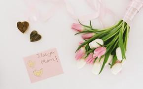 Картинка надпись, букет, сердечки, тюльпаны, поздравление, открытка, день матери