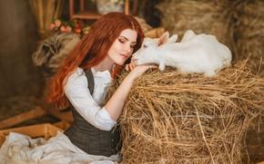 Картинка девушка, сено, рыжая, рыжеволосая, коза, закрытые глаза, козлёнок, Диана Липкина