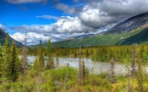 Картинка зелень, река, облака, горы