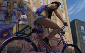 Картинка велосипед, граффити, шорты, кеды, наушники, спортсменка, рюкзак, бейсболка, вид снизу, белая кошка, городская улица, by …