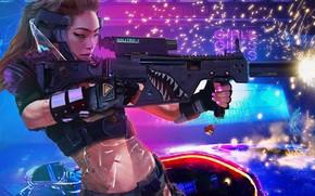 Картинка девушка, оружие, азиатка, Cyberpunk 2077
