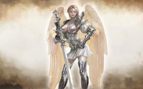 Картинка Девушка, Блондинка, Доспехи, Ангел, Girl, Меч, Воин, Крылья, Heaven, Арт, Beautiful, Art, Женщина, Warrior, Blonde, …