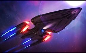 Картинка корабль, Космос, Star Trek, Космический корабль, Fan Art, Звездолет, by Kurumi Morishita, Startrek, Kurumi Morishita, …