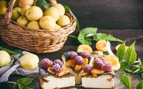 Картинка малина, пирог, корзинка, выпечка, абрикосы, творог, запеканка