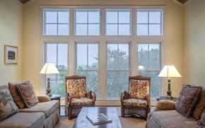 Картинка лампы, комната, интерьер, подушки, окно, кресла, столик, диваны, гостиная