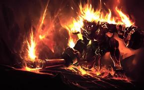 Картинка огонь, обезьяна, League of Legends, Лига Легенд