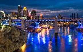 Картинка дорога, мост, река, здания, панорама, ночной город, небоскрёбы, Миннесота, Minnesota, Minneapolis, Миннеаполис, Mississippi River, Река …