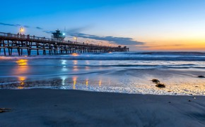 Картинка california, Pacific Ocean, blue hour, San Clemente Pier