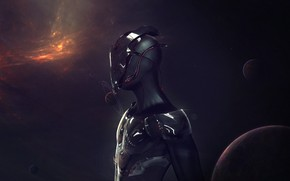 Картинка машина, космос, ночь, металл, темнота, будущее, темный фон, рендеринг, фантастика, планеты, робот, арт, галактика, андроид, …
