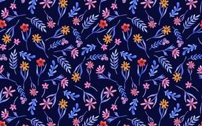 Обои цветы, синий, фон, текстура, pattern