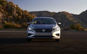 Картинка горы, Volkswagen, седан, вид спереди, Passat, 2020, 2019, US Version