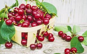 Картинка вишня, фрукты, корзинка, красная