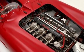 Картинка Maserati, Двигатель, Classic, Classic car, 1955, Sports car, Рядный шестицилиндровый двигатель, Maserati 300S