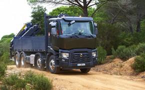 Картинка дорога, растительность, пыль, грузовик, Renault, кузов, четырёхосный, КМУ, Renault Trucks, C-series