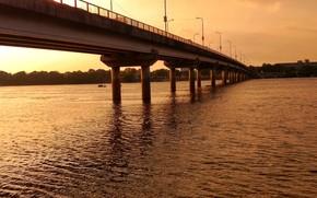 Картинка light, golden, river, nature, bridge, sunset, water, sun, sunlight, mohanonda, mohanonda river