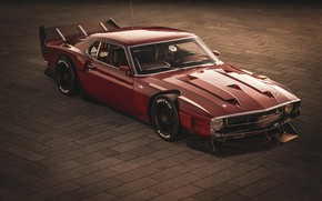 Картинка Ford, Shelby, GT500, Красный, Ретро, Машина, 1969, Car, Автомобиль, Render, Muscle car, Вишневый цвет, Бордо, …