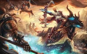 Картинка Лошадь, Доспехи, Лук, WOW, Альянс, Blizzard, Art, World of WarCraft, WarCraft, Сильвана, Arrow, Стрела, Атака, ...