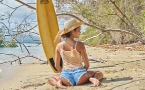 Картинка лето, девушка, берег, доска