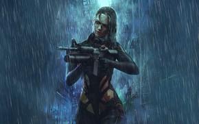 Картинка Девушка, Дождь, Стиль, Girl, Оружие, Fantasy, Автомат, Арт, Art, Style, Фантастика, Rain, Fiction, Киборг, Illustration, …