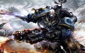Картинка череп, ярость, броня, топор, warhammer 40000, space marine, космодесант, ультрамарины, вархаммер, огнемёт, пафос