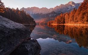 Картинка осень, пейзаж, природа, озеро, камни, Германия, Бавария, Альпы, леса, берега
