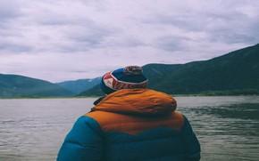 Картинка горы, озеро, мальчик