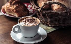 Картинка кофе, еда, завтрак, булочки
