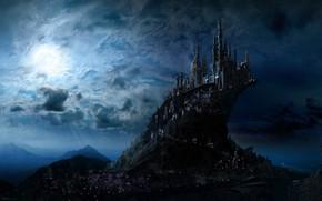 Картинка небо, облака, свет, пейзаж, горы, ночь, тучи, огни, туман, скала, темный фон, рендеринг, замок, обрыв, …