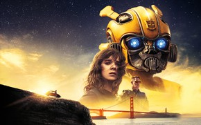 Обои Girl, USA, Action, Car, Golden Gate Bridge, Clouds, Sky, Stars, Robot, Bridge, Alien, Night, Francisco, ...
