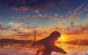 Картинка море, девушка, закат, смеется