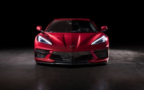 Картинка Corvette, Chevrolet, Капот, Фары, Stingray, Спорткар, Значок, 2020, Chevrolet Corvette ( C8 ) Stingray